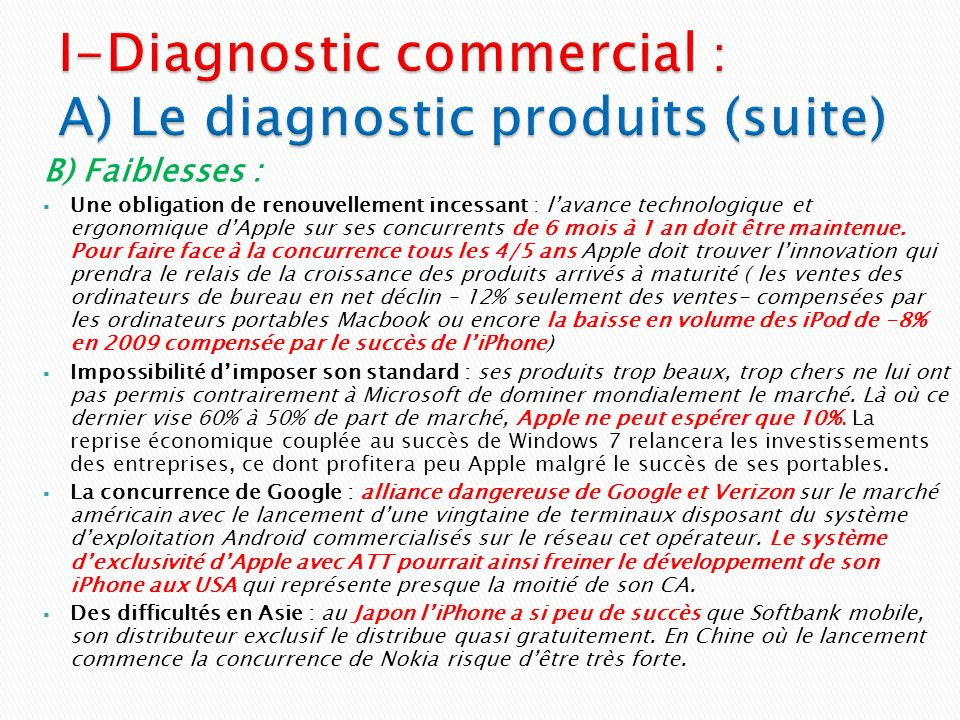 I-Diagnostic commercial : A) Le diagnostic produits (suite)