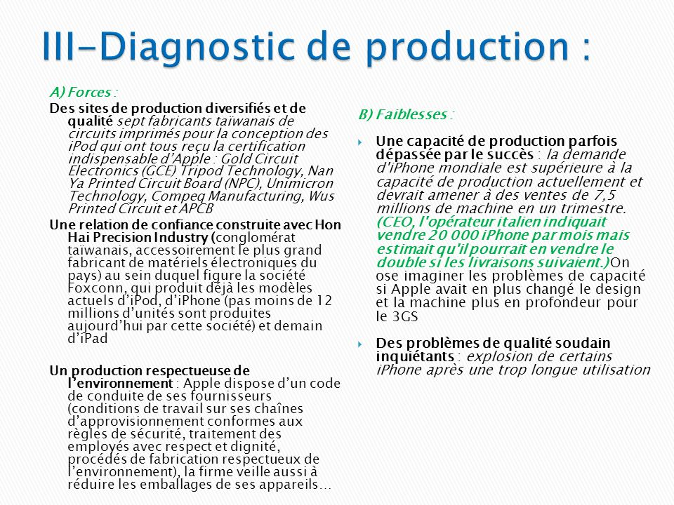 III-Diagnostic de production :