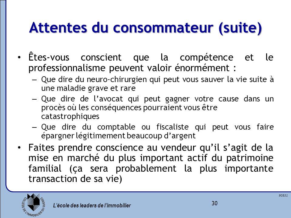 Attentes du consommateur (suite)