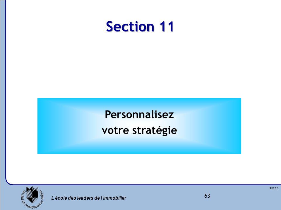 Section 11 Personnalisez votre stratégie
