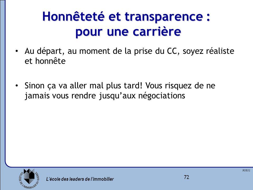 Honnêteté et transparence : pour une carrière