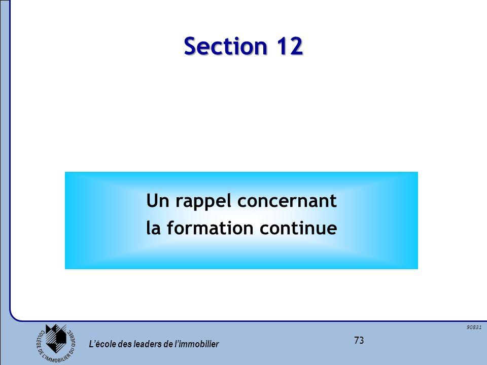 Section 12 Un rappel concernant la formation continue