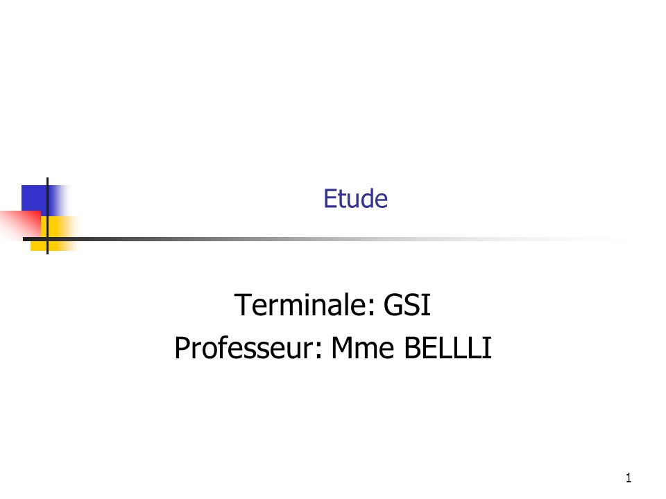 Terminale: GSI Professeur: Mme BELLLI
