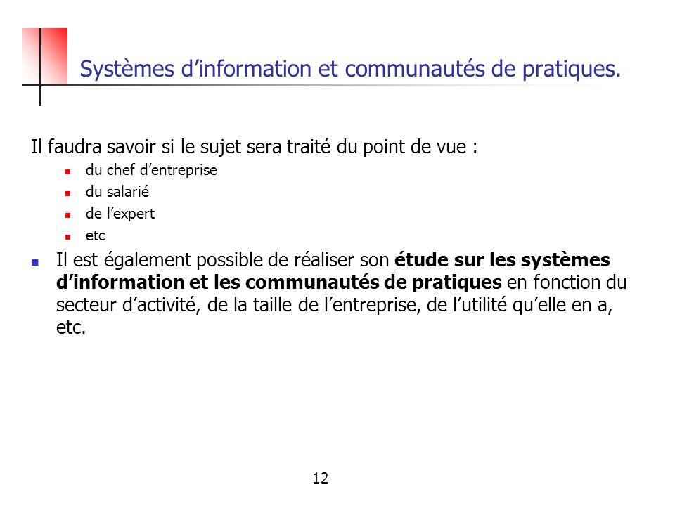 Systèmes d'information et communautés de pratiques.