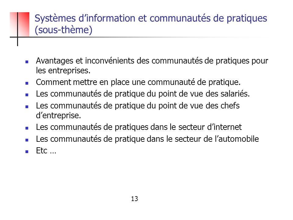 Systèmes d'information et communautés de pratiques (sous-thème)