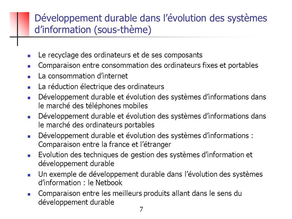 Développement durable dans l'évolution des systèmes d'information (sous-thème)