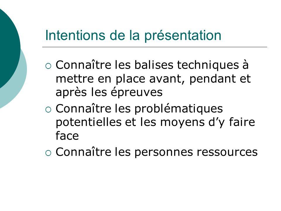 Intentions de la présentation