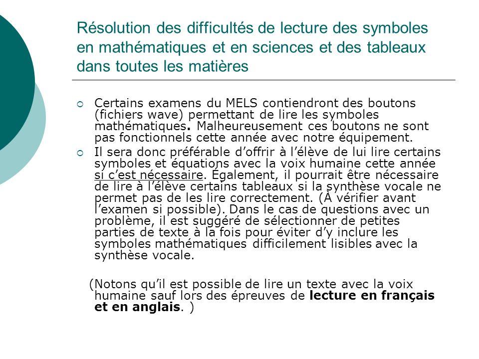 Résolution des difficultés de lecture des symboles en mathématiques et en sciences et des tableaux dans toutes les matières