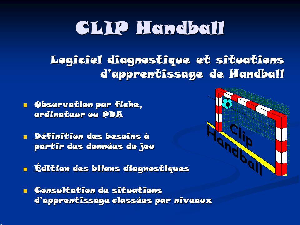 CLIP Handball Logiciel diagnostique et situations d'apprentissage de Handball. Observation par fiche, ordinateur ou PDA.