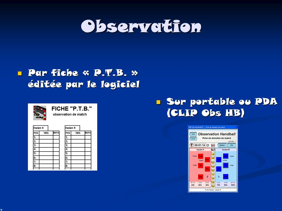 Observation Par fiche « P.T.B. » éditée par le logiciel