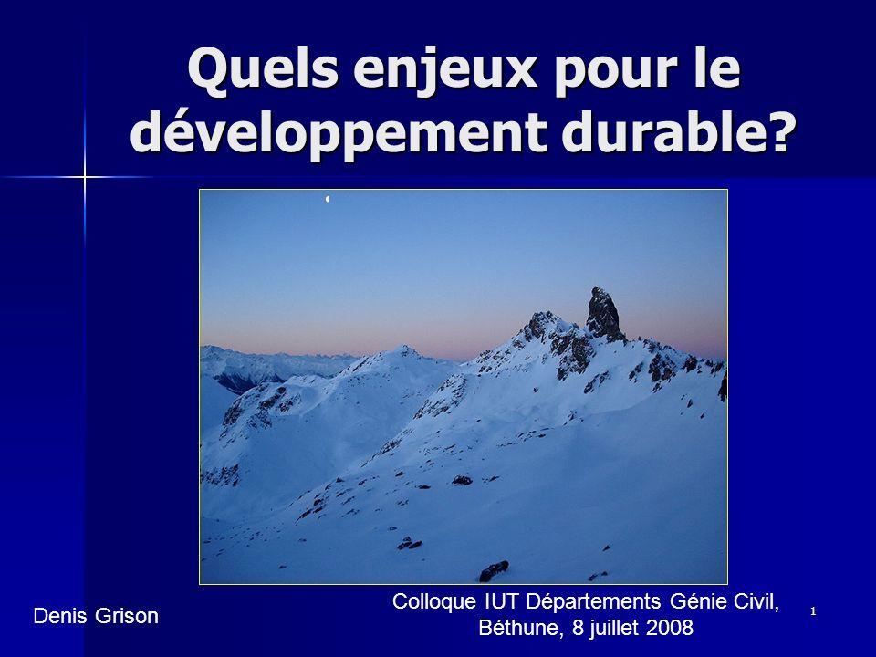 Quels enjeux pour le développement durable