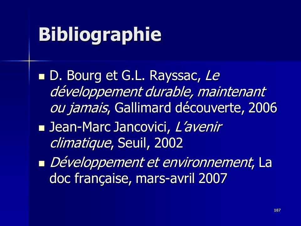 Bibliographie D. Bourg et G.L. Rayssac, Le développement durable, maintenant ou jamais, Gallimard découverte, 2006.