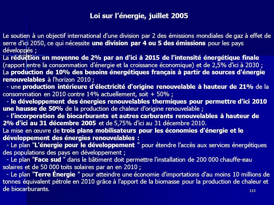 Loi sur l'énergie, juillet 2005