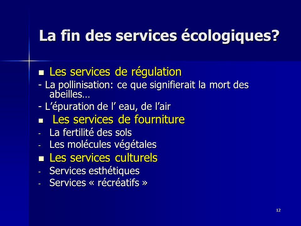 La fin des services écologiques