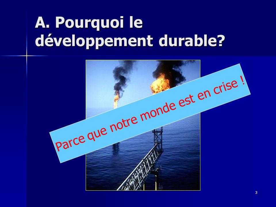 A. Pourquoi le développement durable