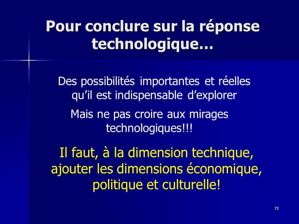 Pour conclure sur la réponse technologique…