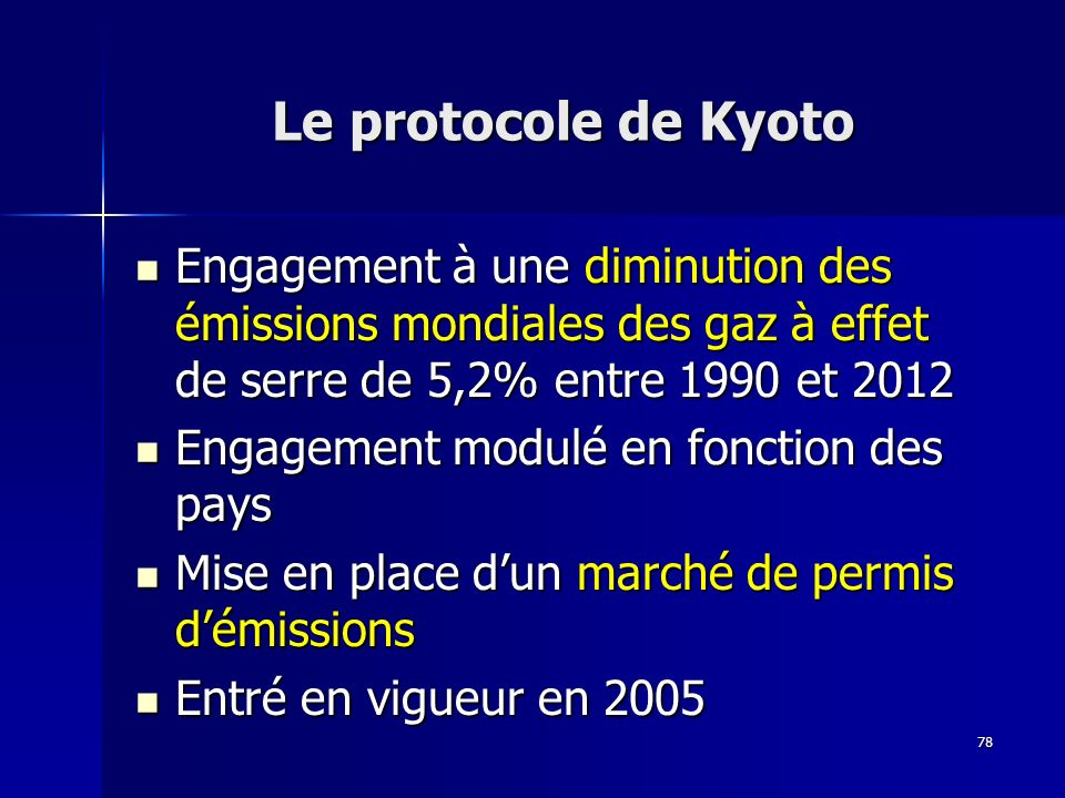 Le protocole de Kyoto Engagement à une diminution des émissions mondiales des gaz à effet de serre de 5,2% entre 1990 et 2012.