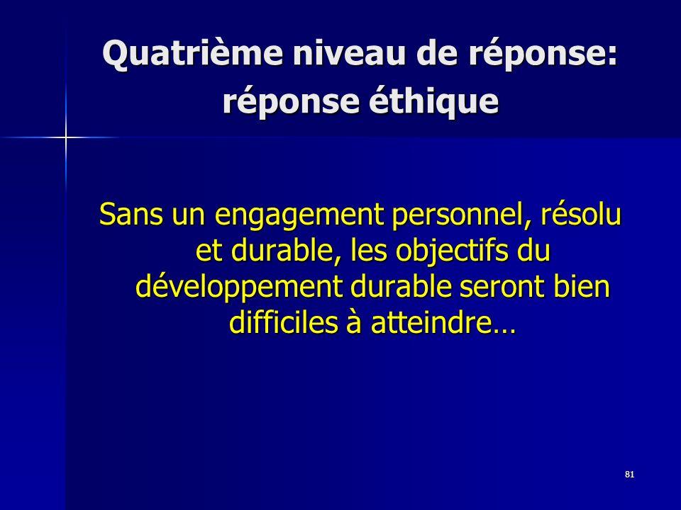 Quatrième niveau de réponse: réponse éthique
