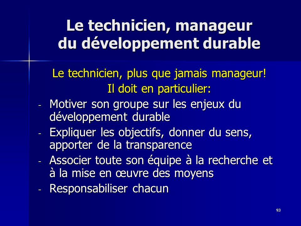 Le technicien, manageur du développement durable
