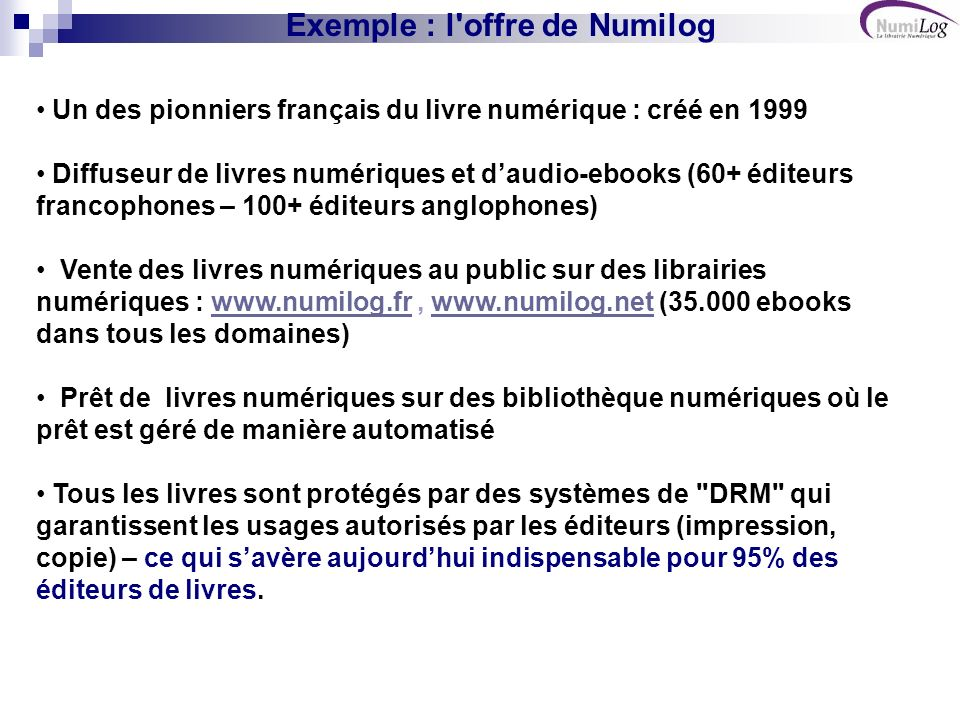 Exemple : l offre de Numilog