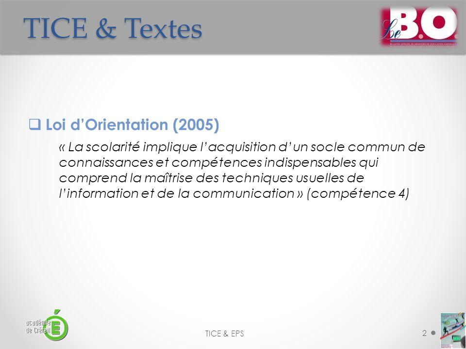 TICE & Textes Loi d'Orientation (2005)