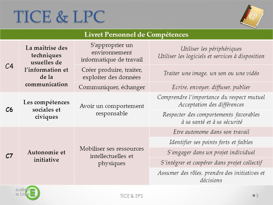TICE & LPC Livret Personnel de Compétences C4