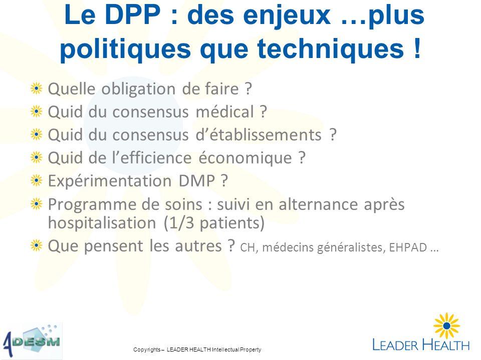 Le DPP : des enjeux …plus politiques que techniques !