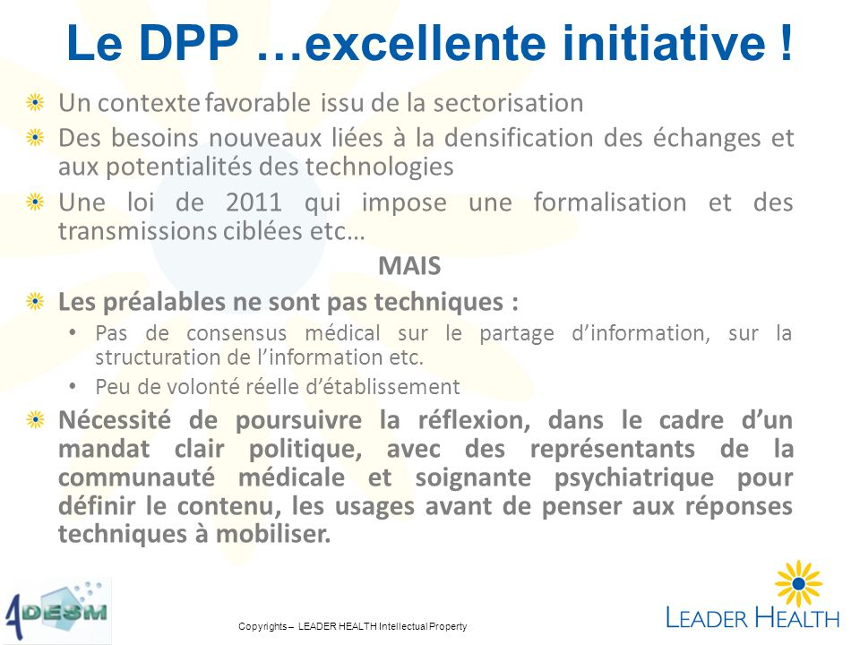 Le DPP …excellente initiative !