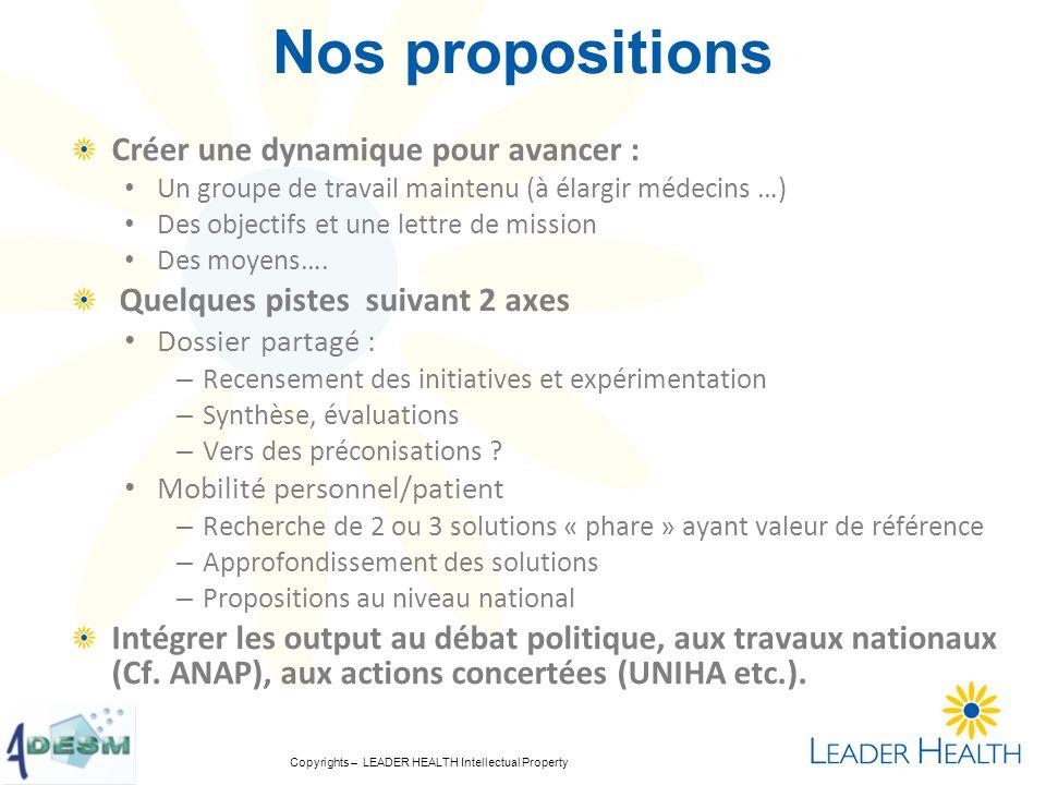 Nos propositions Créer une dynamique pour avancer :