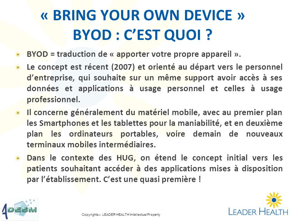 « BRING YOUR OWN DEVICE » BYOD : C'EST QUOI