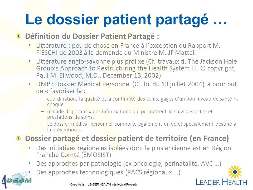 Le dossier patient partagé …
