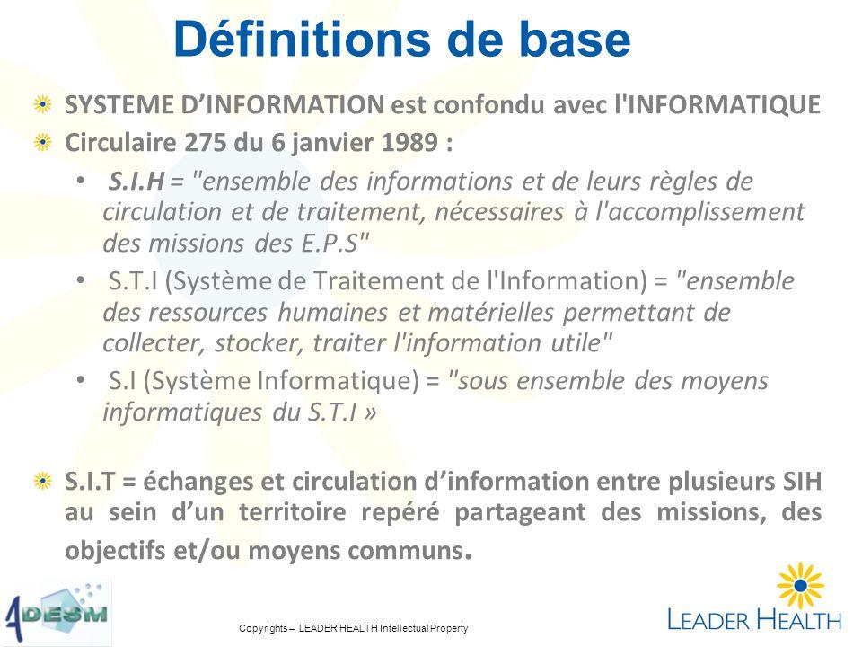 Définitions de base SYSTEME D'INFORMATION est confondu avec l INFORMATIQUE. Circulaire 275 du 6 janvier 1989 :