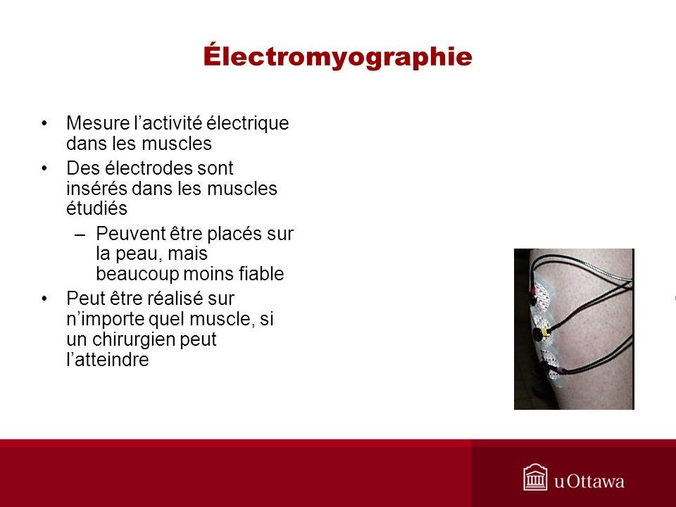 Électromyographie Mesure l'activité électrique dans les muscles