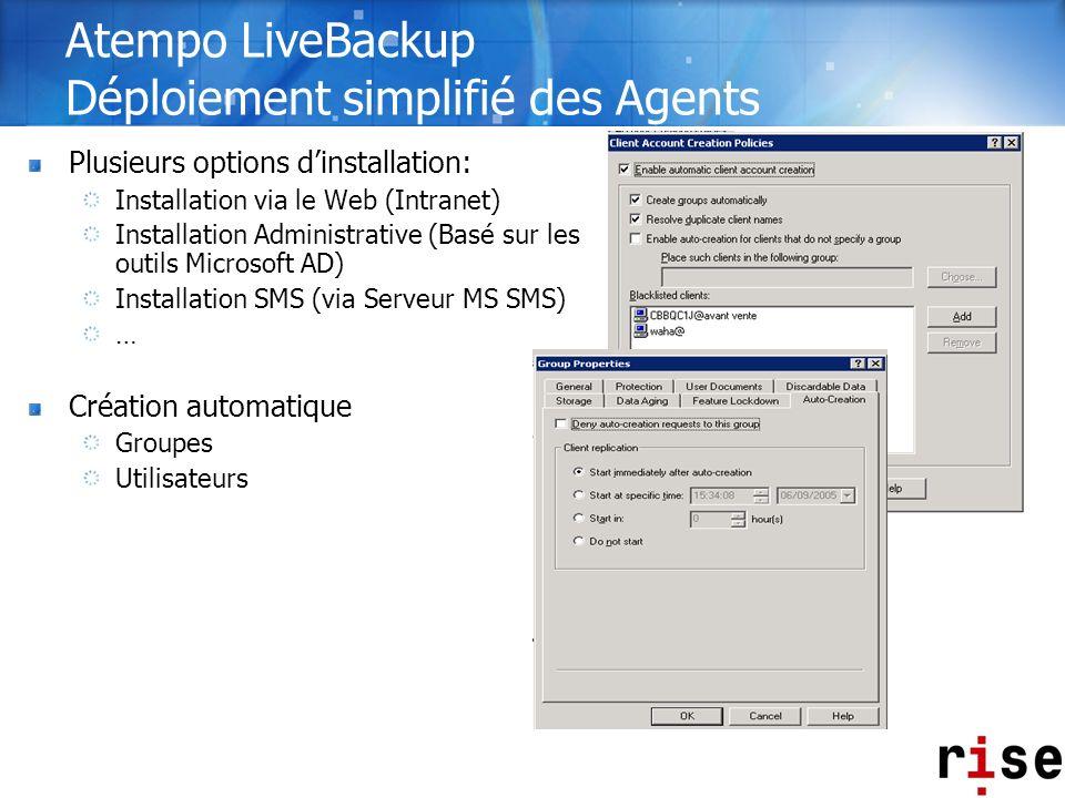 Atempo LiveBackup Déploiement simplifié des Agents