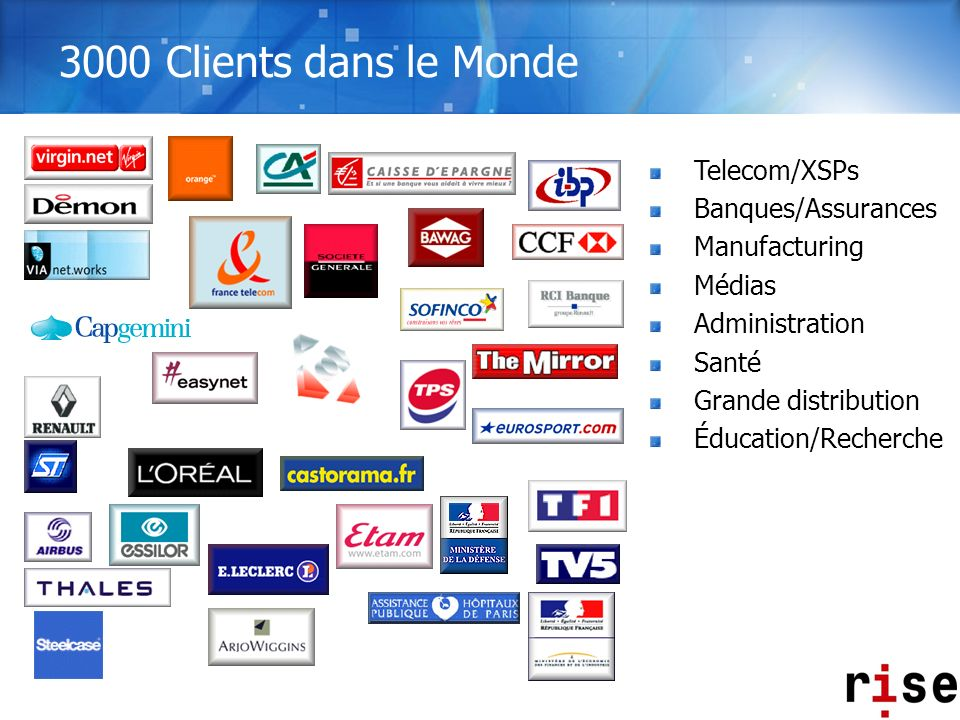 3000 Clients dans le Monde Telecom/XSPs Banques/Assurances
