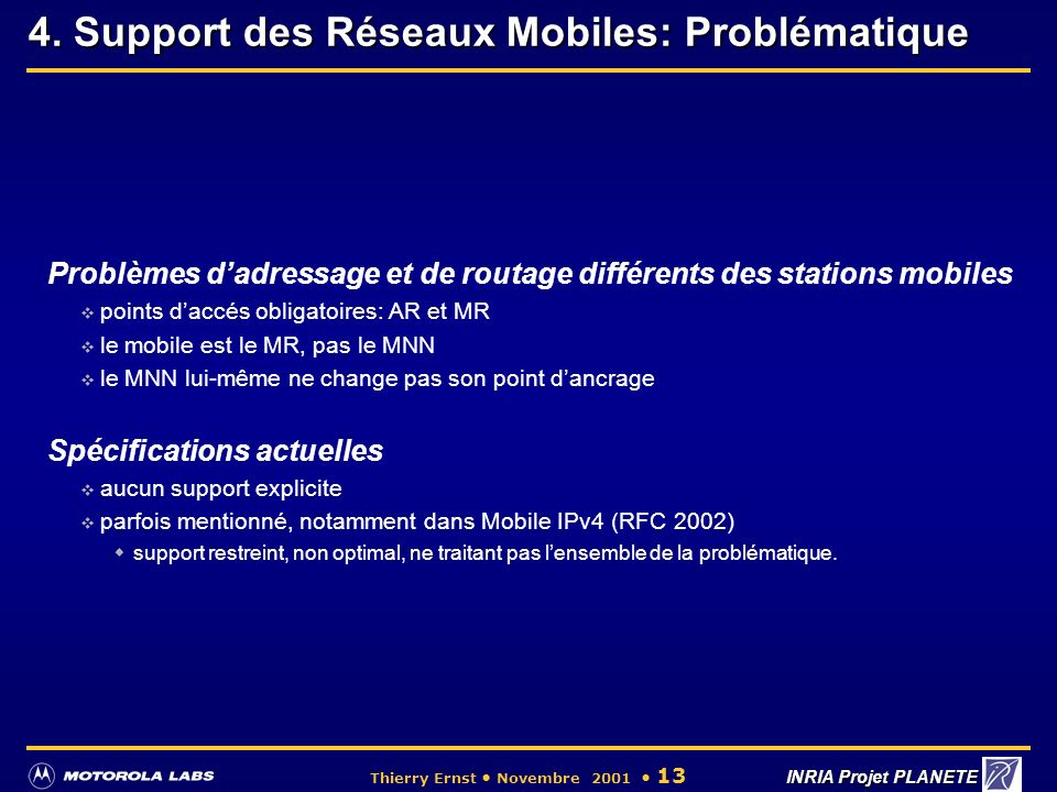 4. Support des Réseaux Mobiles: Problématique