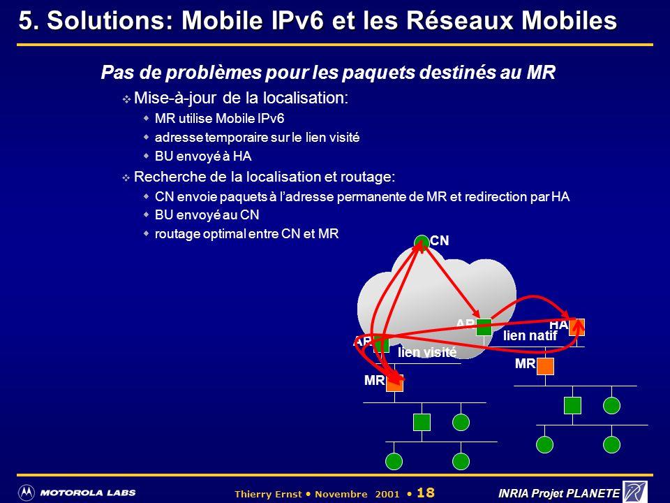 5. Solutions: Mobile IPv6 et les Réseaux Mobiles