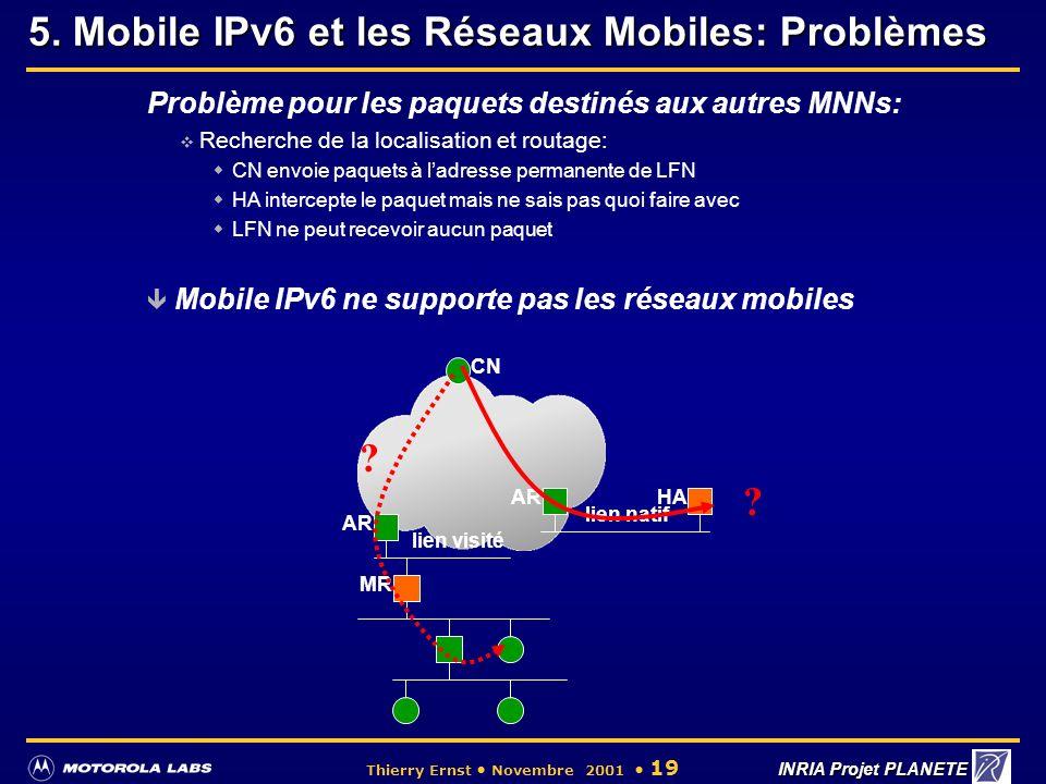 5. Mobile IPv6 et les Réseaux Mobiles: Problèmes