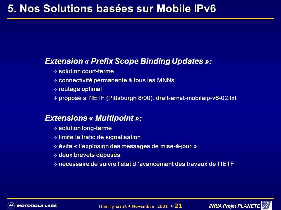 5. Nos Solutions basées sur Mobile IPv6