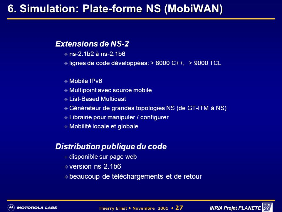 6. Simulation: Plate-forme NS (MobiWAN)