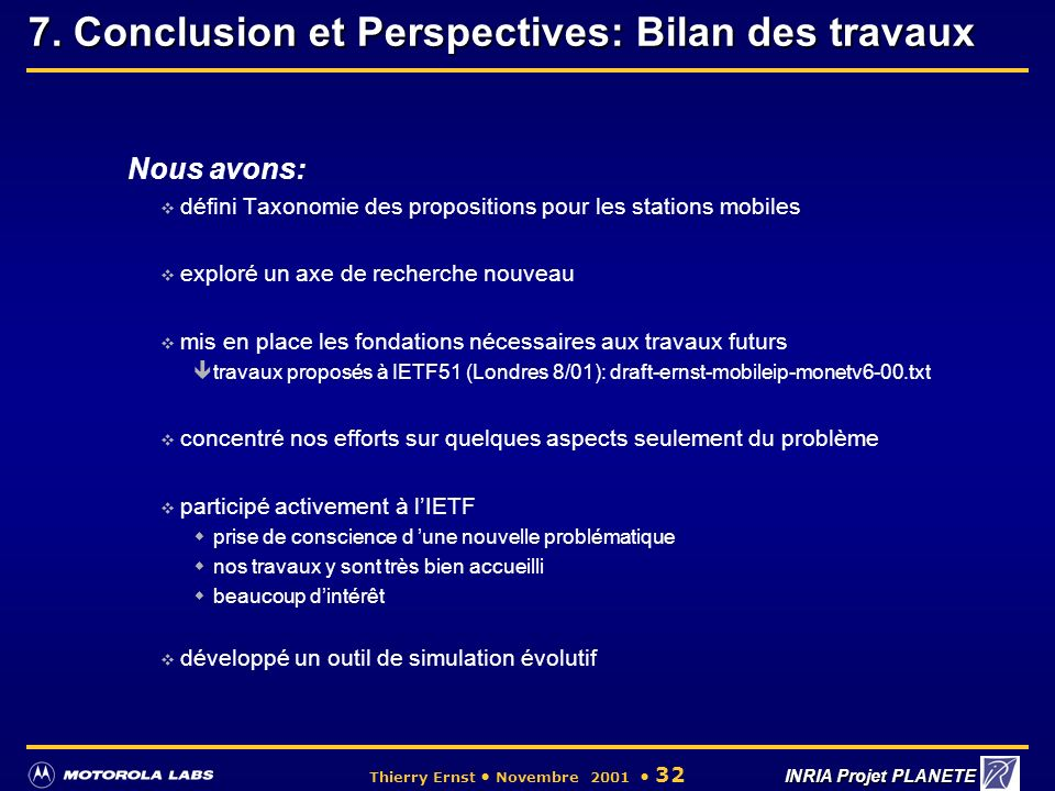 7. Conclusion et Perspectives: Bilan des travaux