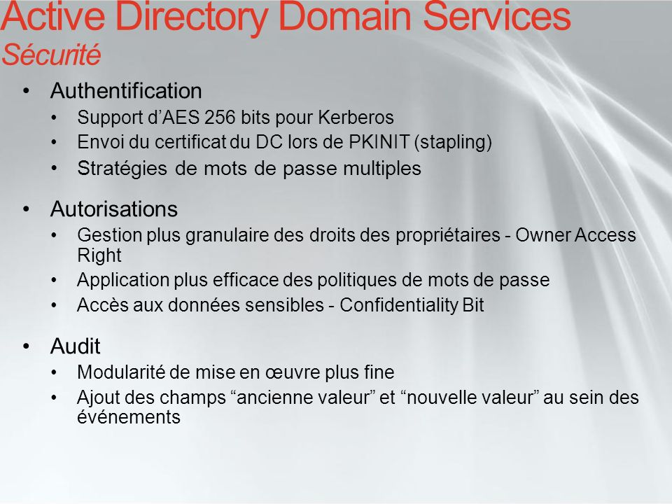 Active Directory Domain Services Sécurité