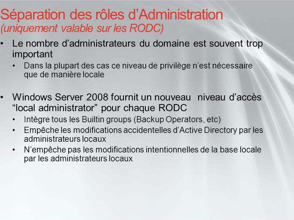 Séparation des rôles d'Administration (uniquement valable sur les RODC)