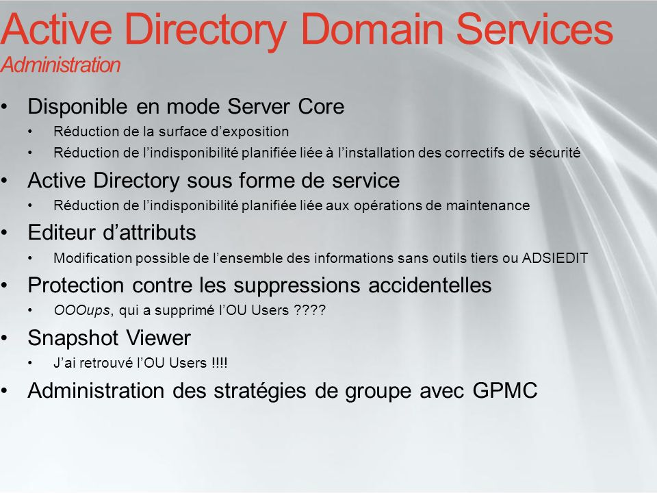 Active Directory Domain Services Administration