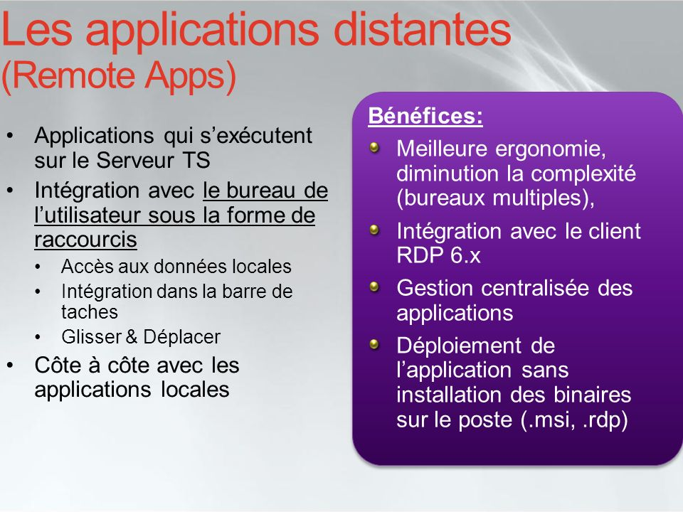 Les applications distantes (Remote Apps)