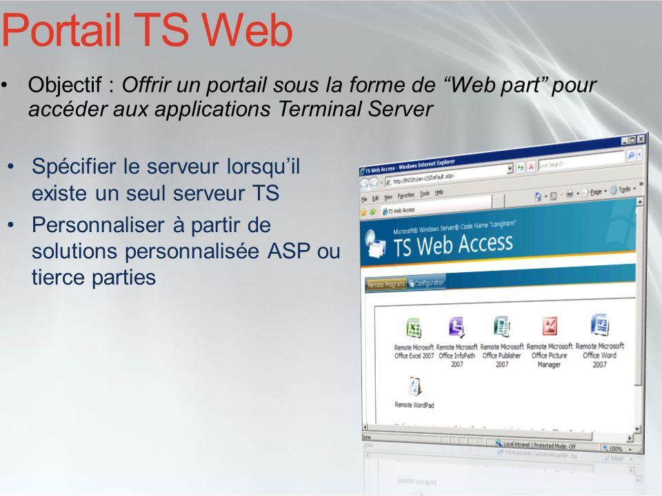 Portail TS Web Objectif : Offrir un portail sous la forme de Web part pour accéder aux applications Terminal Server.