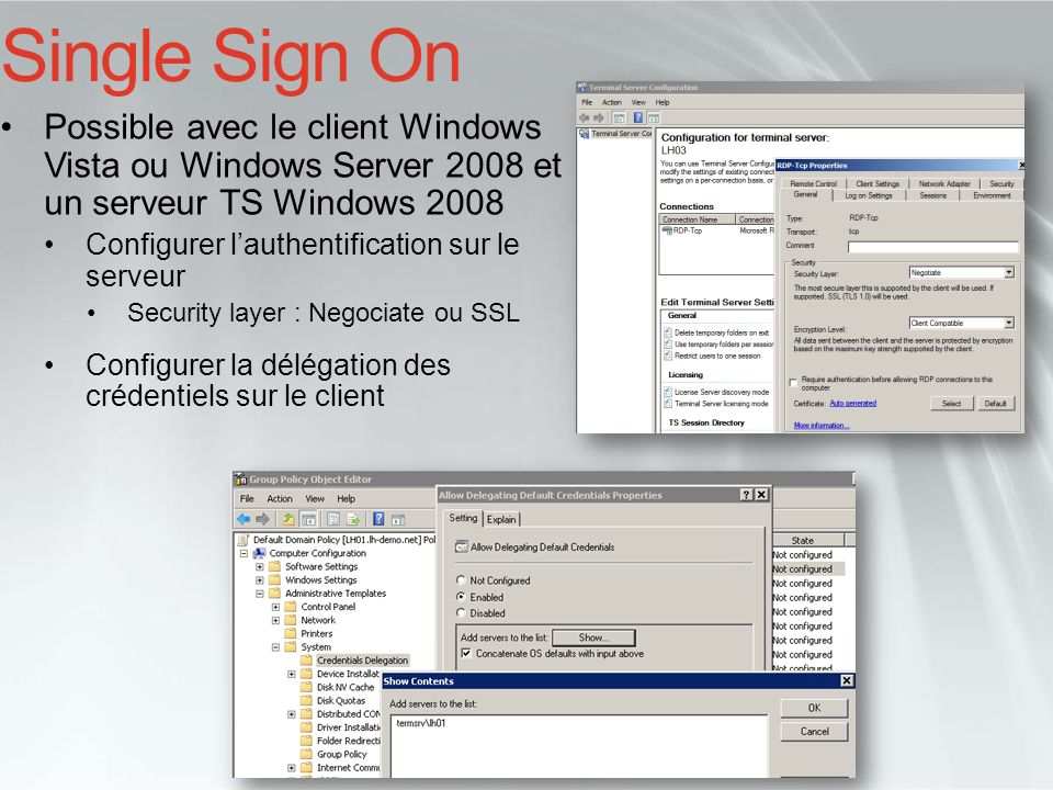 Single Sign On Possible avec le client Windows Vista ou Windows Server 2008 et un serveur TS Windows 2008.