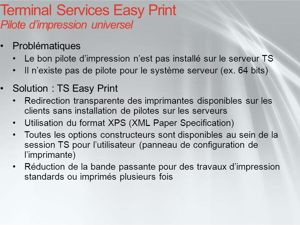 Terminal Services Easy Print Pilote d'impression universel