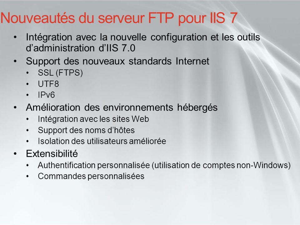 Nouveautés du serveur FTP pour IIS 7
