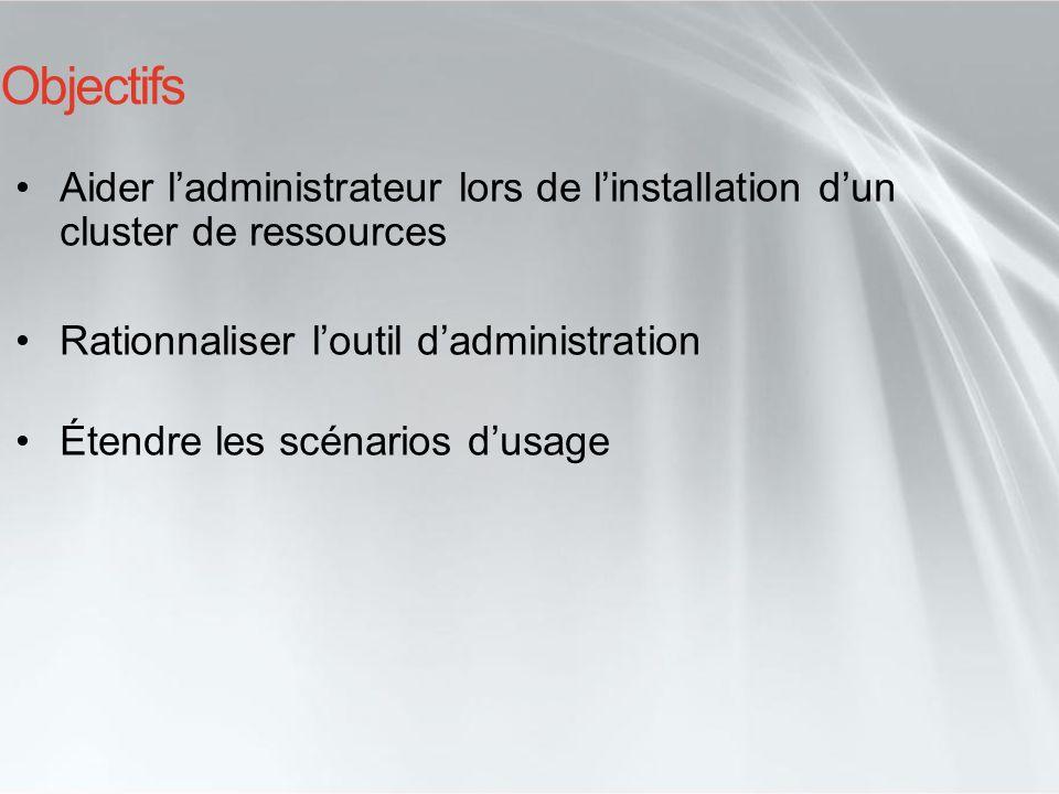 Objectifs Aider l'administrateur lors de l'installation d'un cluster de ressources. Rationnaliser l'outil d'administration.